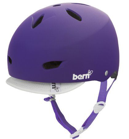 BERN Brighton Summer EPS Matte Helmet with Visor (Purple, Small)