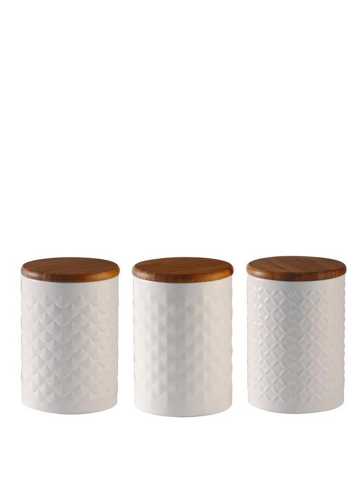 Typhoon Imprima Kitchen Collection - 3-piece Tea, Coffee and Sugar Canister Set The Imprima range from Typhoon offers you kitchen storage that's both practical and stylish. It combines satin matt colour coated steel with an elegant embossed pattern and bamboo lid for a sophisticated style.The collection's tea, coffee and sugar canister set is the ideal way to store those breaktime essentials. Each jar flaunts a scallop, diamond or pyramid embossed pattern to complement your décor.Other…