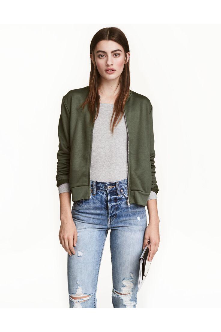 Байковая куртка - Хаки - Женщины | H&M RU 1