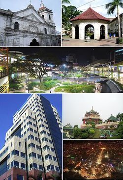 Cebu City (De arriba, de izquierda a derecha): SM City Cebu, Cruz de Magallanes, Ayala Center Cebu, Globe Innove IT Plaza, Cebu Business Park, Cebu City en la noche