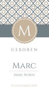 Geboortekaartje Marc klassiek www.fientje-en-co.nl