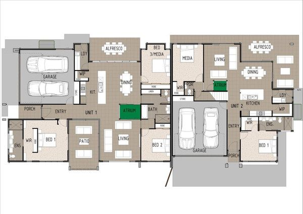 Duplex D3002.  Ground Floor Plan.  This gorgeous modern duplex design is large enough to house two families. The duplex design is 2 x 3 bedroom units.
