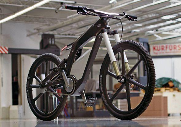 e-bike par Julien Dupont et Audi  La marque Audi c'est associée au freestyler français Julien Dupont pour la création de ce superbe concept de vélo électrique.  Il est constitué d'un cadre en fibre de carbone-polymères, d'un moteur électrique de 2,3 KW, d'une caméra, le tout piloté par une interface tactile reliée à un smartphone.