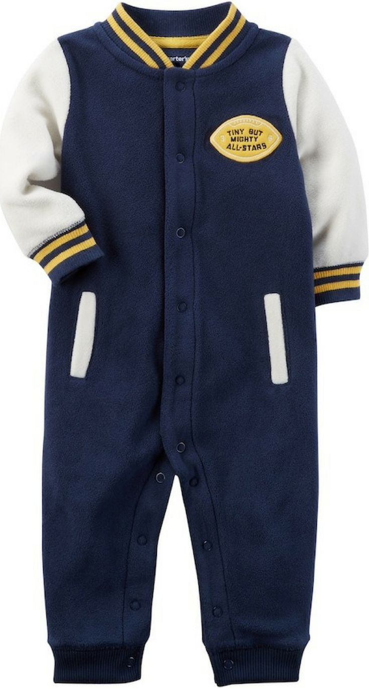 This boys' Carter's fleece jumpsuit offers a classic varsity jacket look while keeping him mighty cute and warm.  #boyclothing #boyfashion #shopping #ad #baby #toddler #love #style