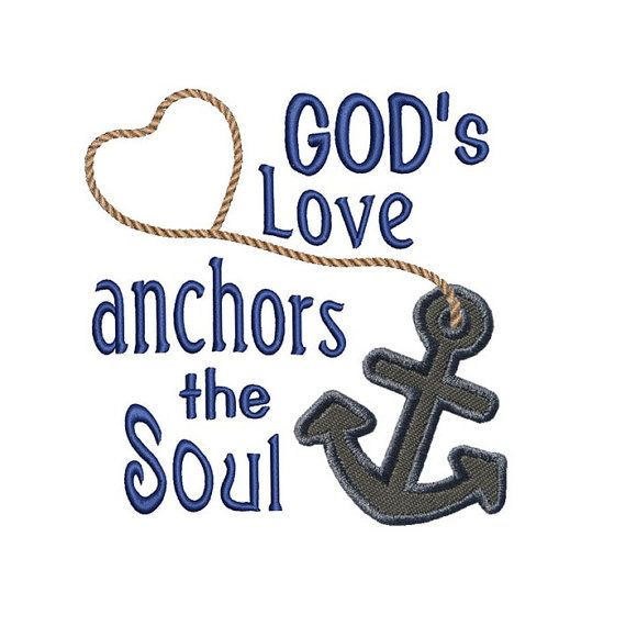 Gods Love Anchors Applique Machine Embroidery Digital Design Beach Ocean Bible