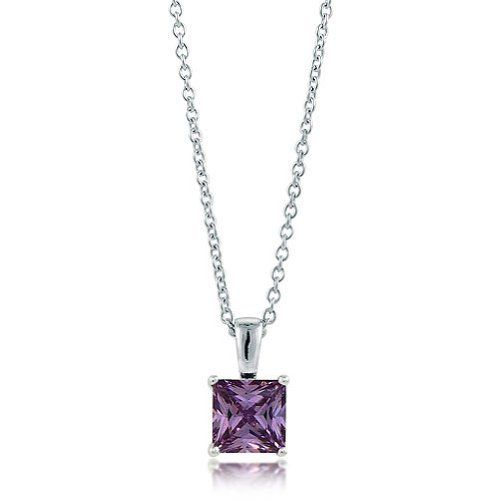 Sterling Silver Amethyst Princess CZ Solitaire Pendant Necklace - 7mm BERRICLE. $30.99. Metal : Stamped 925. Stone Total Weight (ct.tw) : 1.96. Gender : Women. Stone Type : Cubic Zirconia. Save 60%!