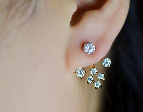 Gold Plated mehrere Zirkonia Steine Ohr Jacken / vorne und hinten Ohrringe / Ohr-Manschetten, die unermüdlich unter Ihrem Ohrläppchen Leuchten