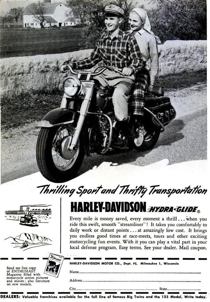 1951 Harley Davidson Advert Oldsoulretro More