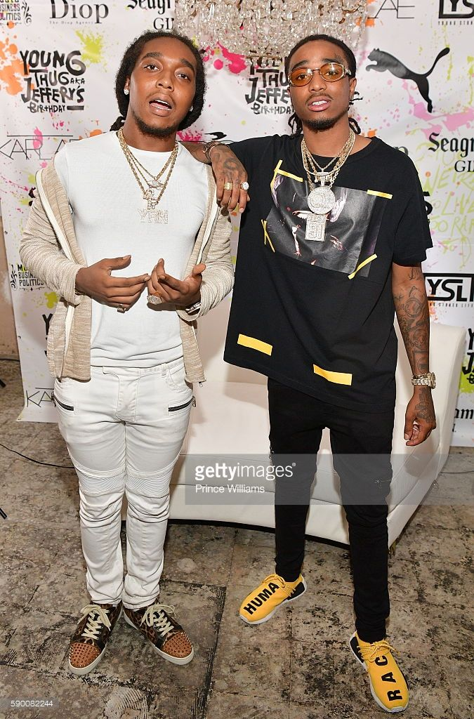 Takeoff and Quavo of the Group Migos attend Young Thugs 25th Birthday and PUMa Campaign on August 15, 2016 in Atlanta, Georgia.