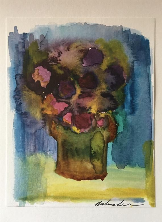 Original Abstract Floral Watercolor Painting On Canvas Board