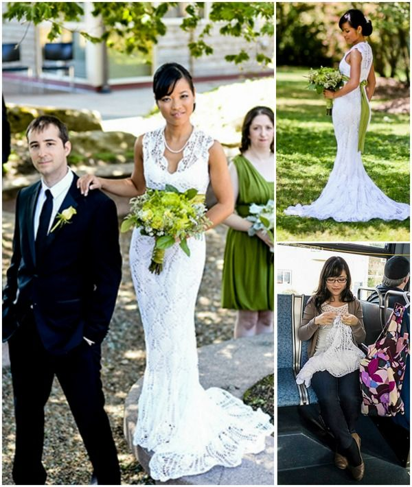 The 25 best crochet wedding dresses ideas on pinterest diy she crocheted her stunning wedding dress herself for just 30 find out junglespirit Image collections