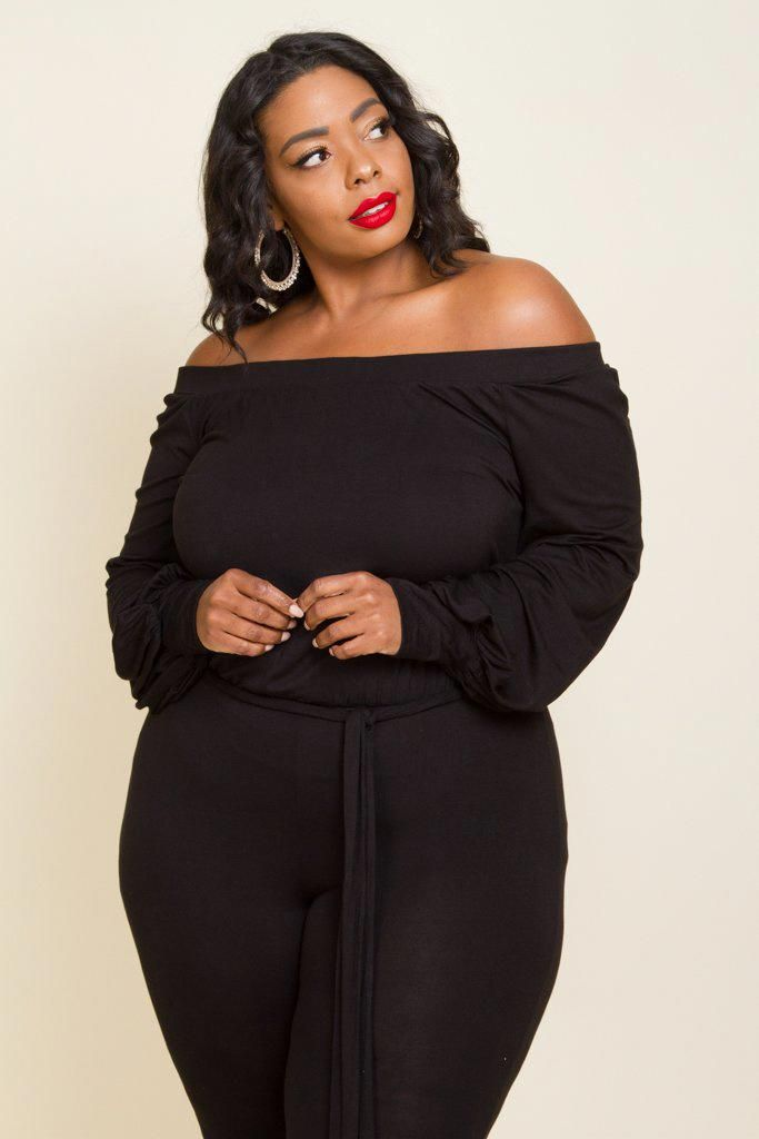 Plus Size Off Shoulder Long Sleeve Pant Jump Suit With Tie String