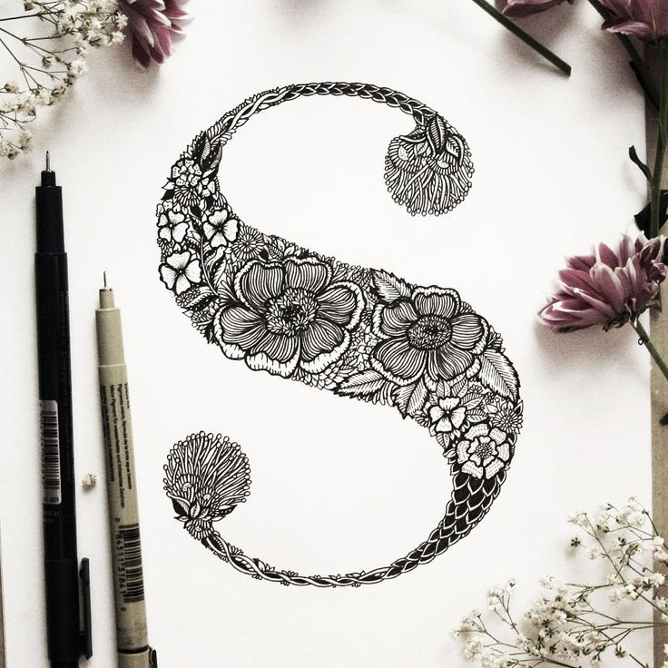 "Floral ""S"" // #s #lettering  #graphicdesign #illustration #drawing #ink…"