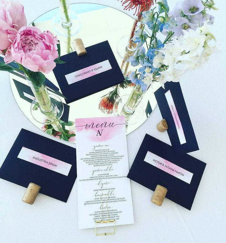 confetti daydreams wedding invitations%0A Details from yesterday u    s wedding        weddingmenu  placecards  escortcards   watercolor  pink