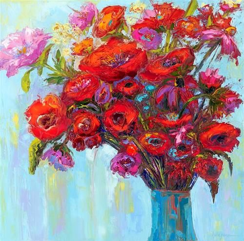 """Daily Paintworks - """"Blossom of the Heart, Impressionistic floral still life, Flowers in a vase"""" - Original Fine Art for Sale - © Patricia Awapara"""