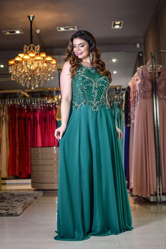 Vestido Longo Verde - Saia Justa Moda Festa - Vestidos e Acessórios - Curitiba