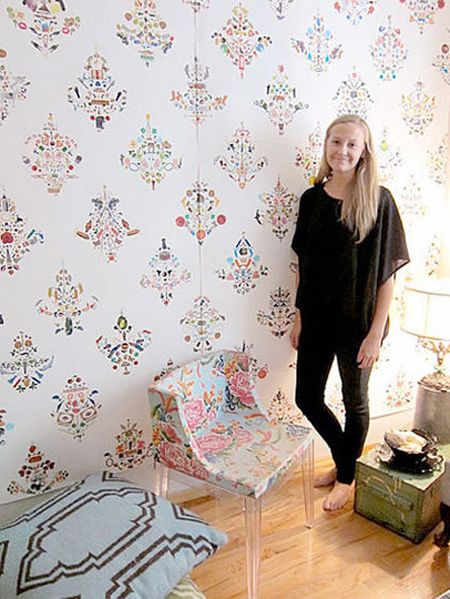Wallpaper designs made completely from children's stickers - wow!!