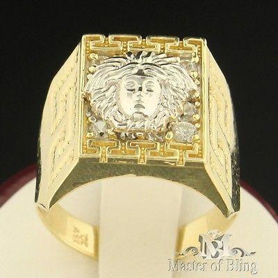 versace pinky ring | ... Head 10K Solid Gold Men Signet Band 2Tone Greek Pinky Ring | eBay