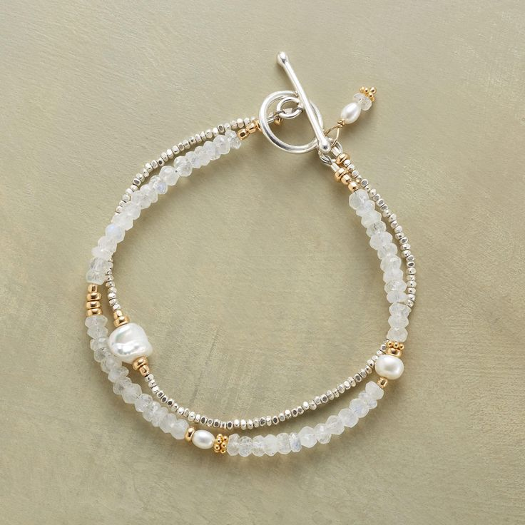 """MOONSTONE LUSTER BRACELET -- Sterling silver, cultured pearls and touches of 14kt goldfill bring luster and gleam to iridescent moonstones. Toggle clasp. Exclusive. Handmade in USA. 7-1/2""""L."""