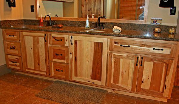 Rustic Hickory Bathroom Cabinets Hickory Bathroom