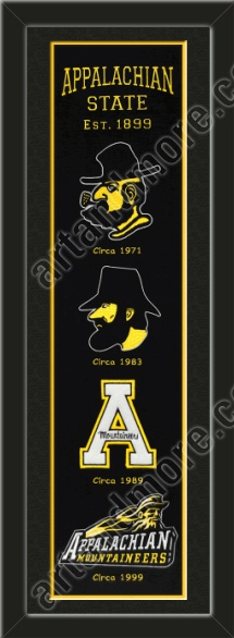This framed Appalachian State University heritage banner, double matted in team colors to 8 x 32 inches.  $119.99 @ ArtandMore.com