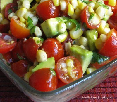 Grilled corn, avocado & tomato salad with honey lime dressing