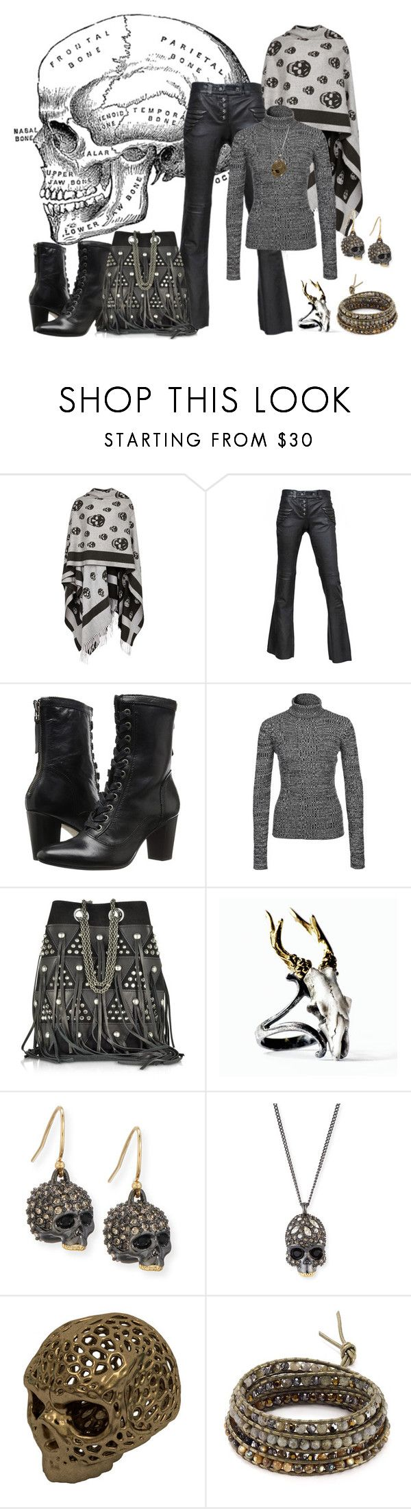 """Lost My Head!"" by lily0906 ❤ liked on Polyvore featuring Alexander McQueen, Johnston & Murphy, NLY Trend, Jérôme Dreyfuss, Macabre Gadgets, Alexis Bittar, Chan Luu, Leather and skull"