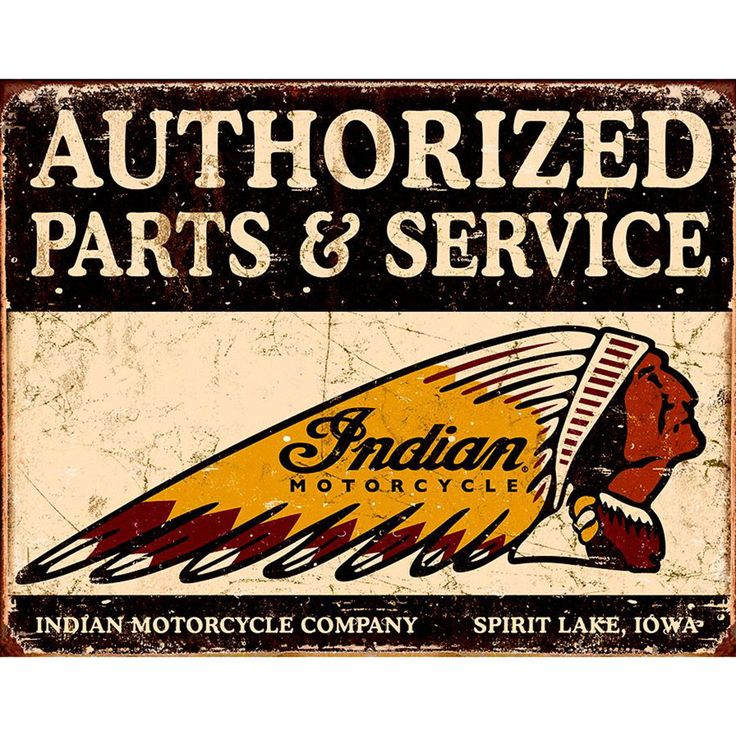 Indian authorized parts service metal sign motorcycle