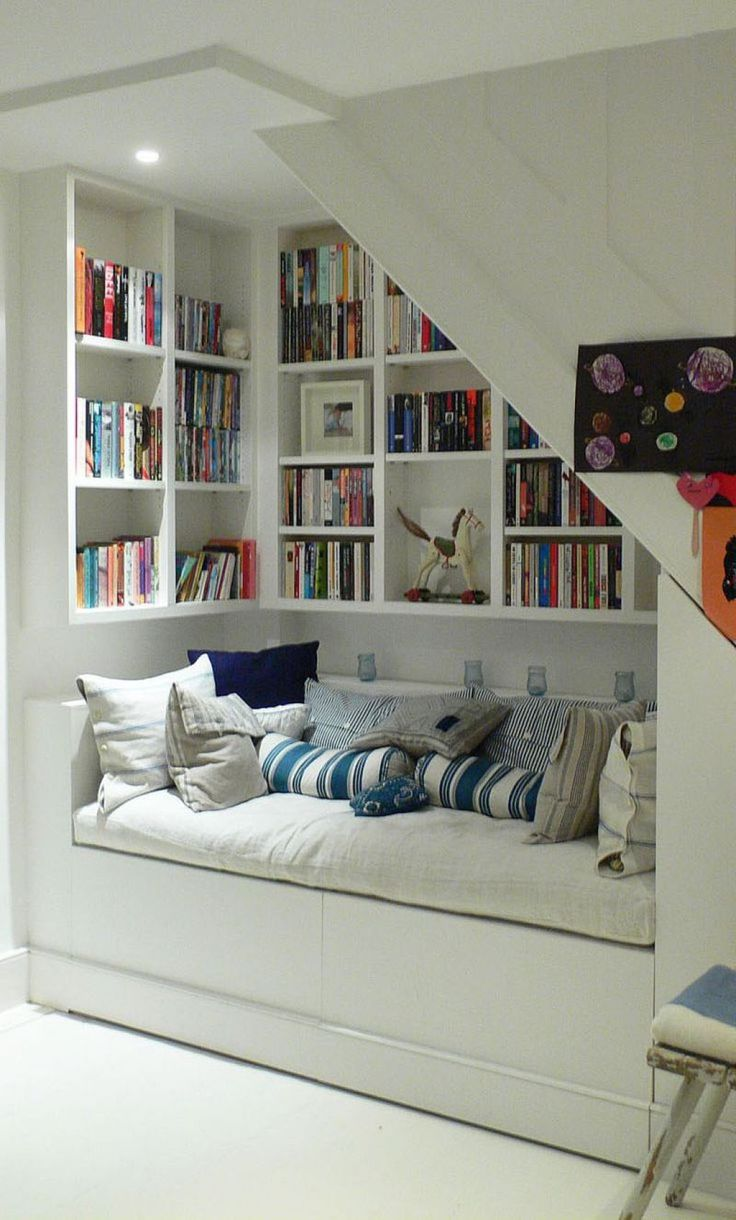 For the alcove in the master? Reading Nook Under Stairs With Book Collections