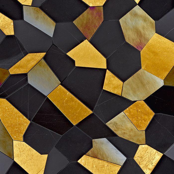 Mosaïque de marbre noir et feuilles d'or Caleidos Gold (Sicis)