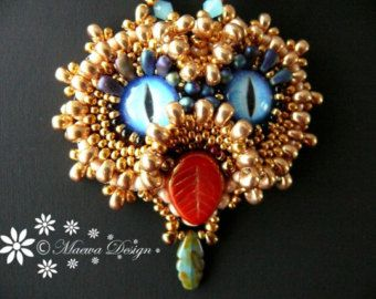 Bead embroidered Pendant necklace jasper Beadwork by MaewaDesign
