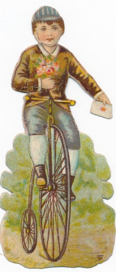 Very  Rare victorian DIE CUT 1890 s bike penny farthing bicycle AY