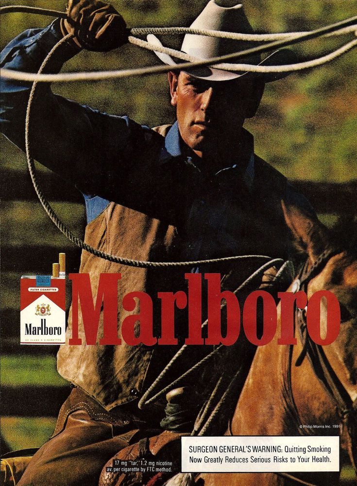 1991 MARLBORO MAN Cigarettes Photo AD Cute Young Cowboy Roping on Horse #Marlboro