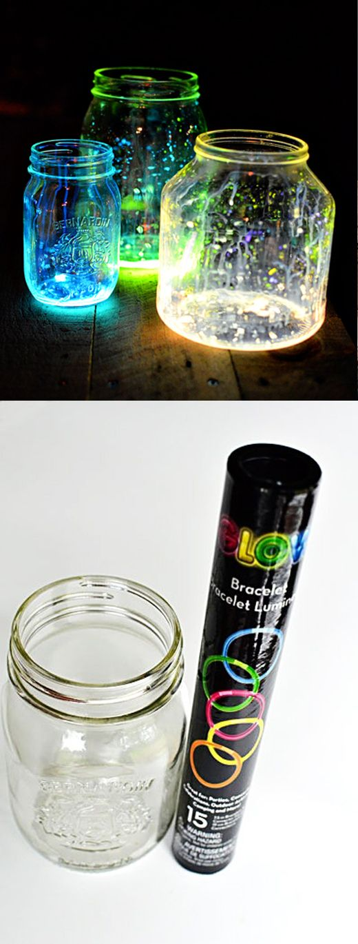 DIY glow-in-thedark table decorations for your outdoor event. Takes no effort or money.@http://blog.nextdayflyers.com/10-best-do-it-yourself-wedding-decoration-ideas-ceremony-reception/
