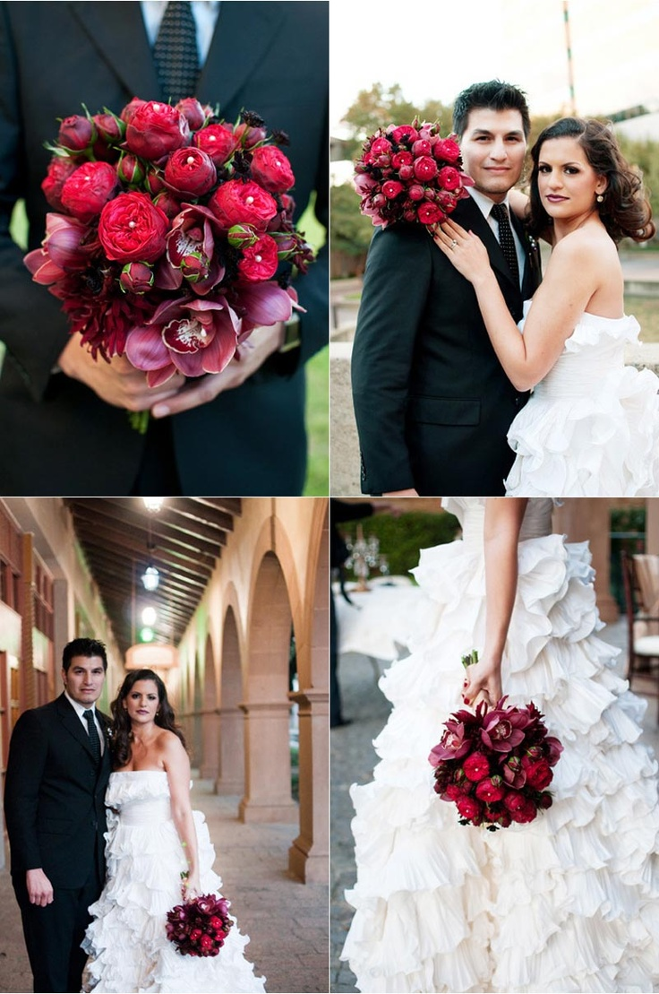 Ruffled Oscar de la Renta Wedding Dress  Deep red bridal wedding bouquet  Oscar de la Renta Inspiration Shoot