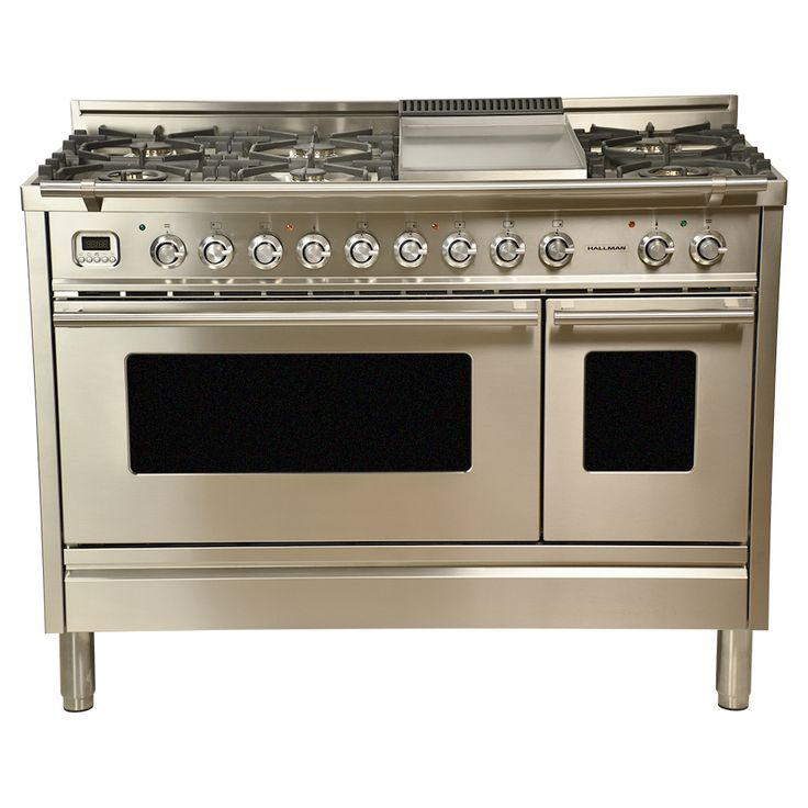 48 in. 5.0 cu. ft. Double Oven Dual Fuel Italian Range with True Convection 7-Burners and Griddle in Stainless Steel | HDFR48SS