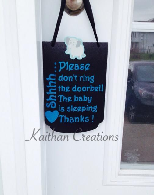 Do not ring the doorbell plaque by Kaithan Creations.  Boy Themed.  Baby is sleeping this plaque is the perfect accessory to your front door.  Can be customized to your colors.  Visit my Facebook page for more options. www.facebook.com/kaithancreations