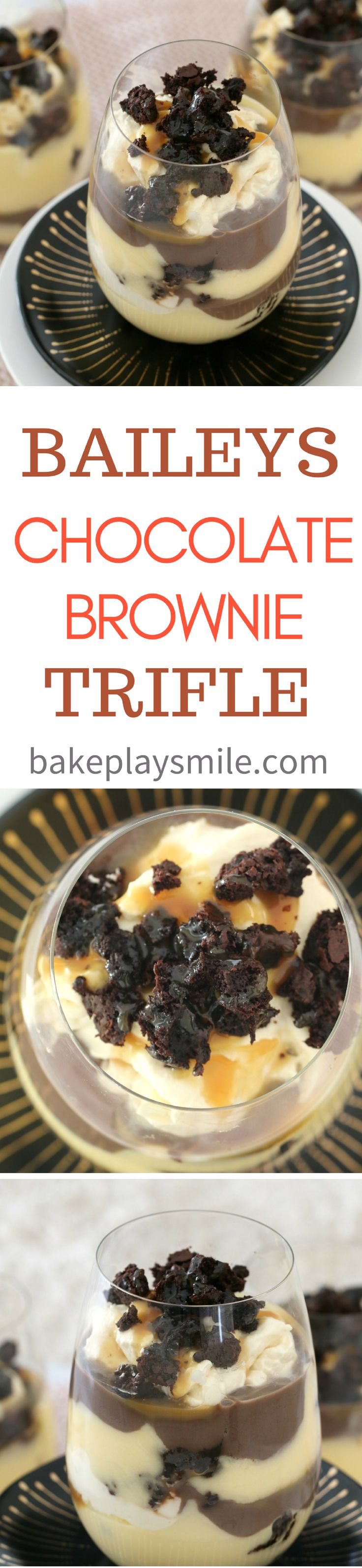 Baileys Chocolate Brownie Trifle  The most decadent layered Baileys Chocolate Brownie Trifle – filled with rich chocolate brownie, vanilla custard, whipped cream, Baileys Irish Cream, chocolate custard and salted caramel sauce… this one is for the true chocoholics!!   #chocolate #brownie #trifle #baileys