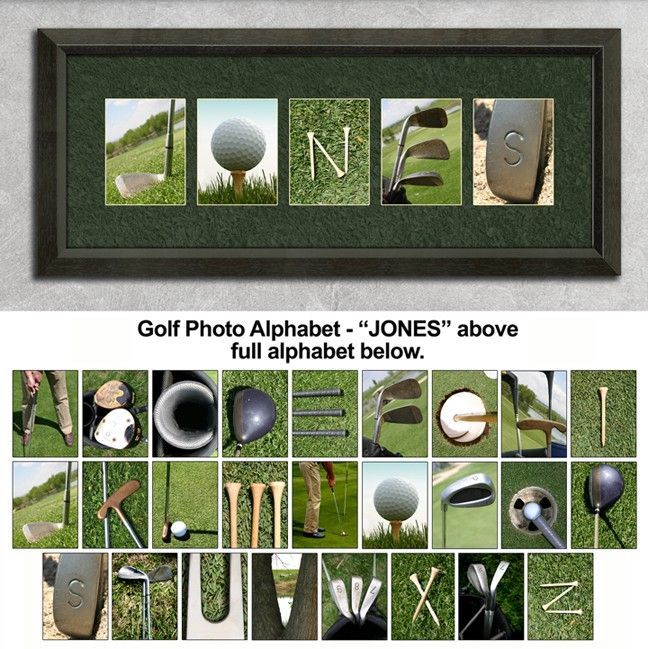 golf sign...I wonder if I can be creative enough to make this myself using golf clubs, tees, golf balls, golf hats, golf shoes. I'm gonna try.