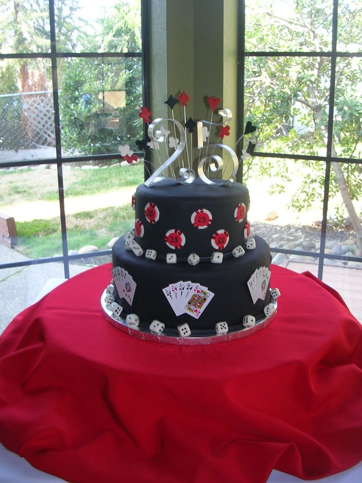casino poker cake -   a 8 and 12 inch rounds & 4 1/2 inches tall covered in fondant w/ fondant details and plastic cards.