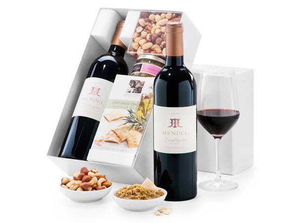 uk Gift Baskets - Mendel Finca Remota Red Wine & Snacks - NEW