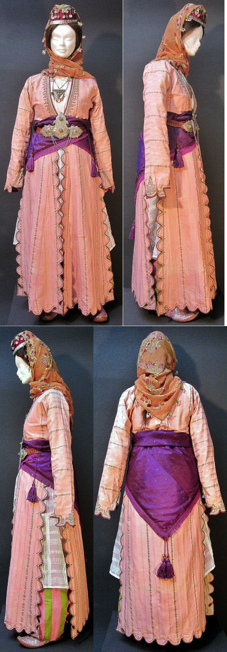 A traditional festive ('summer') costume from the Konya province. Late-Ottoman urban fashion, end of 19th century. With an 'üçetek' (robe with three panels) and an 'arkalık' (triangular waistcloth) in silk discontinuous ('broché') brocade. They date, as well as the jewelry, from 1875-1900, or earlier. (Kavak Costume Collection - Antwerpen/Belgium).