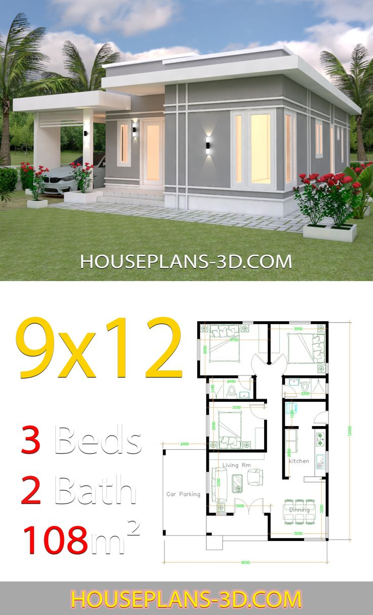 House Design Plans 9x12 With 3 Bedrooms Terrace Roof