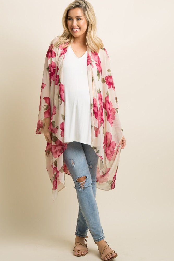 d26f2362bcb A flowy floral print maternity kimono featuring a lightweight