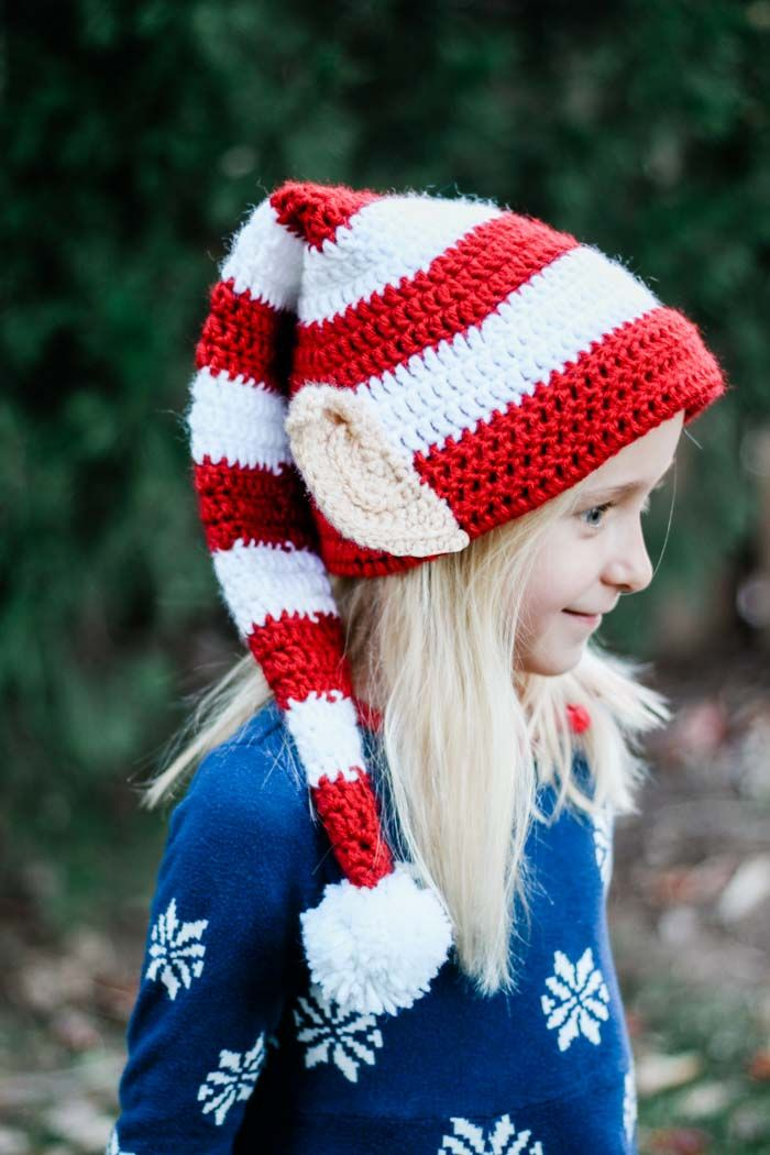 This free crochet elf hat pattern with ears is worked in the round and  makes a fast crochet Christmas gift idea for babies 916b17d1c74