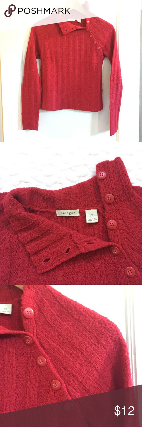 Halogen Mock-neck sweater Halogen mock-neck sweater. Cherry red, nubby knit, buttons on neck down to armpit. Hits at top of hip, so works great with high waisted pants or skirts. 65% wool, 18% nylon, 17% acrylic. Size XS. Excellent used condition. Halogen Sweaters Cowl & Turtlenecks