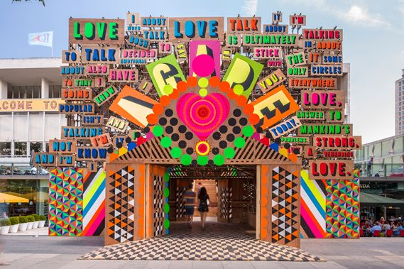 Temple of love on London's Southbank, Morag Myerscough and Luke Morgan.