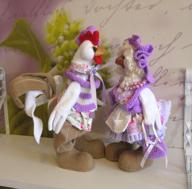 Купить Петушок и курочка Шерочка с Машерочкой - сиреневый, петух с курицей, курочка, петушок, петух, курица