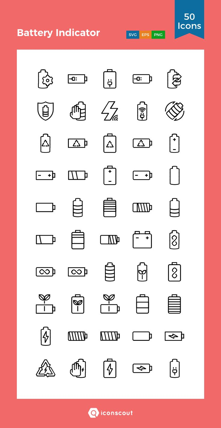 Battery Indicator   Icon Pack - 50 Line Icons