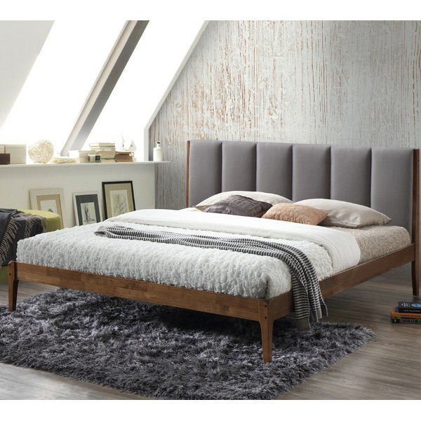 Wolfgang Rachele Mid Century Fabric And Wood Platform Bed